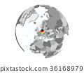 Germany on globe isolated 36168979