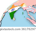 India on globe with flag 36170297