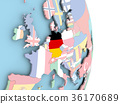 Germany with flag on globe 36170689