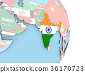 India with flag on globe 36170723