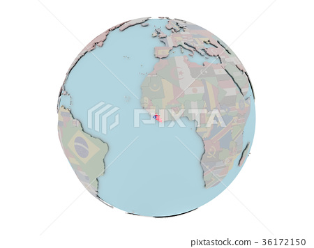 Liberia with flag on globe 36172150