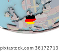 Germany with flag on globe 36172713