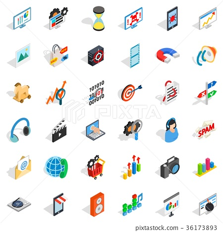 Web extension icons set, isometric style 36173893