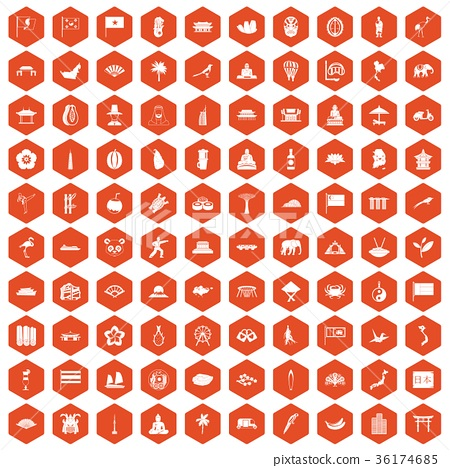100 asian icons hexagon orange 36174685