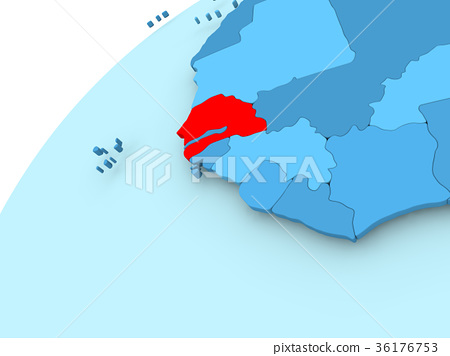 Senegal on blue globe - Stock Illustration [36176753] - PIXTA on