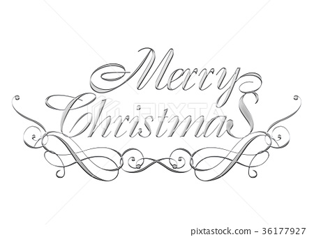 Merry Christmas In Cursive.Silver Metallic Relief Like Cursive Merry Stock