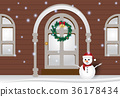 Christmas season background with snowman 36178434