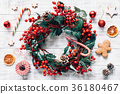 wreath, decoration, gingerbread 36180467