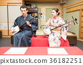 shamisen, kimono, sightseeing 36182251