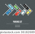 Parking lot poster in flat style 36182689