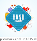 Realistic 3d Hand Made Knitted Concept. Vector 36183539