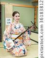 shamisen, kimono, female 36183812