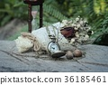 Antique pocket watch and hourglass with flowers. 36185461
