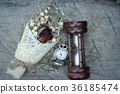 Antique pocket watch and hourglass with flowers. 36185474