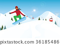 Snowboarder jumping through air against blue sky. 36185486