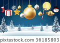 christmas hanging decorative on a winter hill 36185803