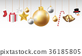 christmas hanging decorative on a white background 36185805