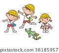 春天來了。幼兒園的孩子。 36185957