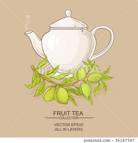 almond tea illustration 36187597