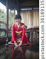 Kimono woman greeting 36189135