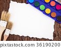 Art brush watercolor paint with white paper art 36190200