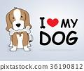 "Cartoon dog ""I love my dog"" Vector illustration. 36190812"