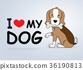 "Cartoon dog ""I love my dog"" Vector illustration. 36190813"
