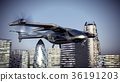 Flying Taxy Drone Going Through the City. 3d 36191203