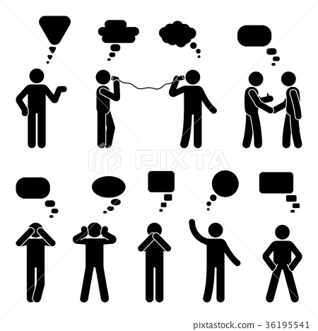 Stick figure dialog speech bubbles set 36195541