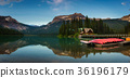 Canoes on beautiful Emerald Lake in Yoho National 36196179