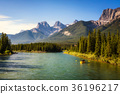 Rafting on the Bow River near Canmore in Canada 36196217
