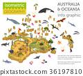 Isometric Australia and Oceania flora and fauna  36197810