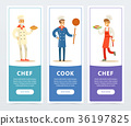 Colorful banners set with professional restaurant 36197825