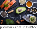 Black slate table with product rich in omega 3. 36198927