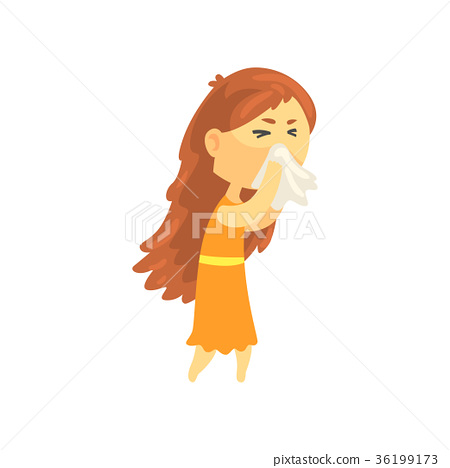 Sick girl with long hair blowing her nose with a 36199173