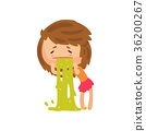 Unhappy girl vomiting from food poisoning cartoon 36200267