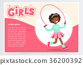 Cute african girl jumping with skipping rope 36200392