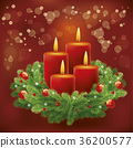 Christmas advent background with wreath and burnin 36200577