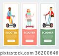 People riding on modern electric self balancing 36200646