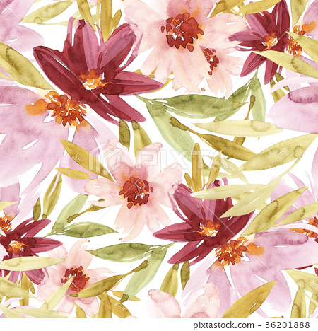 Flowers watercolor illustration. Seamless pattern 36201888