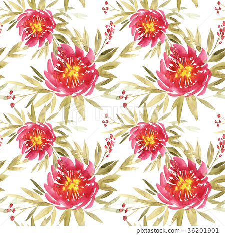 Seamless summer pattern with watercolor flowers 36201901