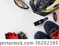 set bicycle equipment on a white paper background 36202165