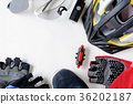 set bicycle equipment on a white paper background 36202187