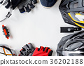 set bicycle equipment on a white paper background 36202188