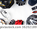 set bicycle equipment on a white paper background 36202189