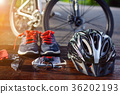 set bicycle equipment on a top wood 36202193