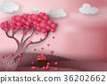 Paper art of Happy Valentine day with tree heart 36202662