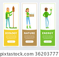 Ecological lifestyle banners with people 36203777