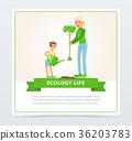 mother, boy, planting 36203783