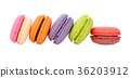 macaroons or macaron on white background, Dessert 36203912